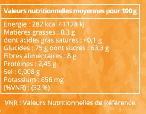 Dattes Deglet Nour de l'oasis de Blidet - Informations nutritionnelles - fr