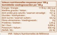 Dattes Deglet Nour Branchees - Nutrition facts