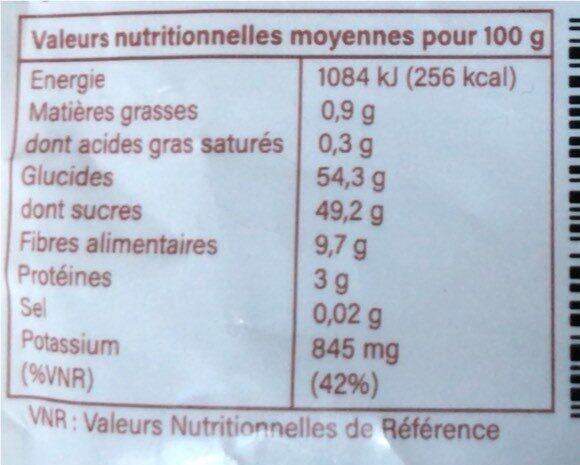 J- Figue Séchée - Nutrition facts - fr
