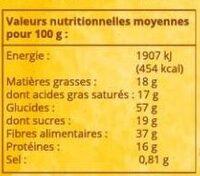Farine de Coco Biologique - Informations nutritionnelles