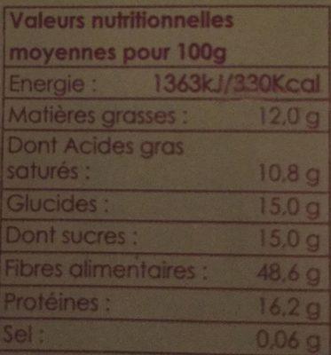 Farine de Coco Biologique - Nutrition facts