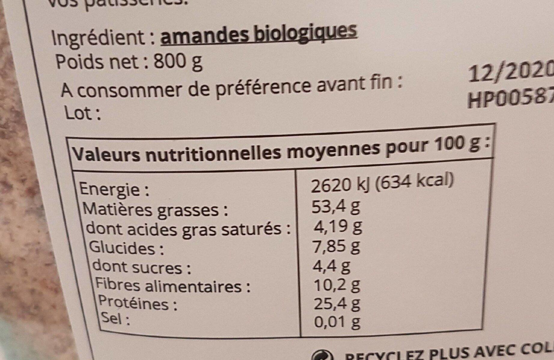 Poudre d'amandes complète - Espagne - Informations nutritionnelles - fr