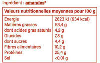 Amandes décortiquées de la vanille de Pinoso Espagne - Informations nutritionnelles - fr