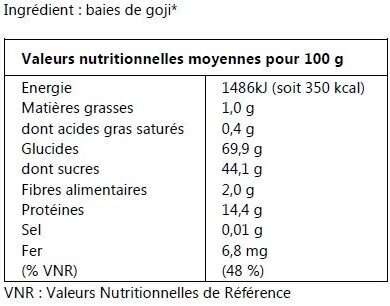 Baies de Goji bio - Ingrédients - fr
