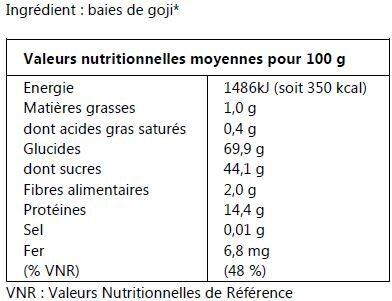 Baies de Goji bio - Informations nutritionnelles - fr