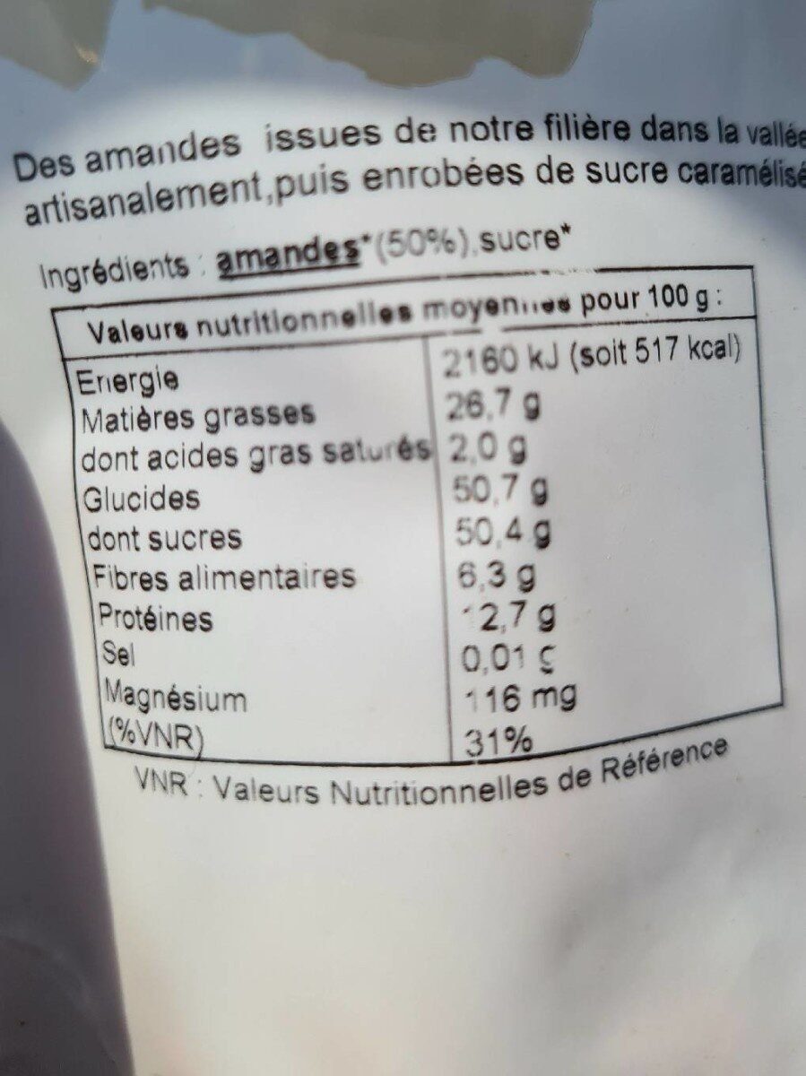 Amande Pralinees - Informations nutritionnelles - fr