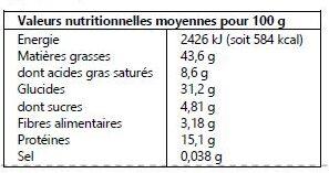 Noix de Cajou au Tamari 125g - Informations nutritionnelles - fr