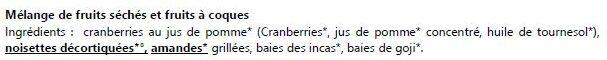 Mélange du randonneur - Ingrédients - fr