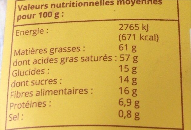 Chips de coco - Nutrition facts - fr