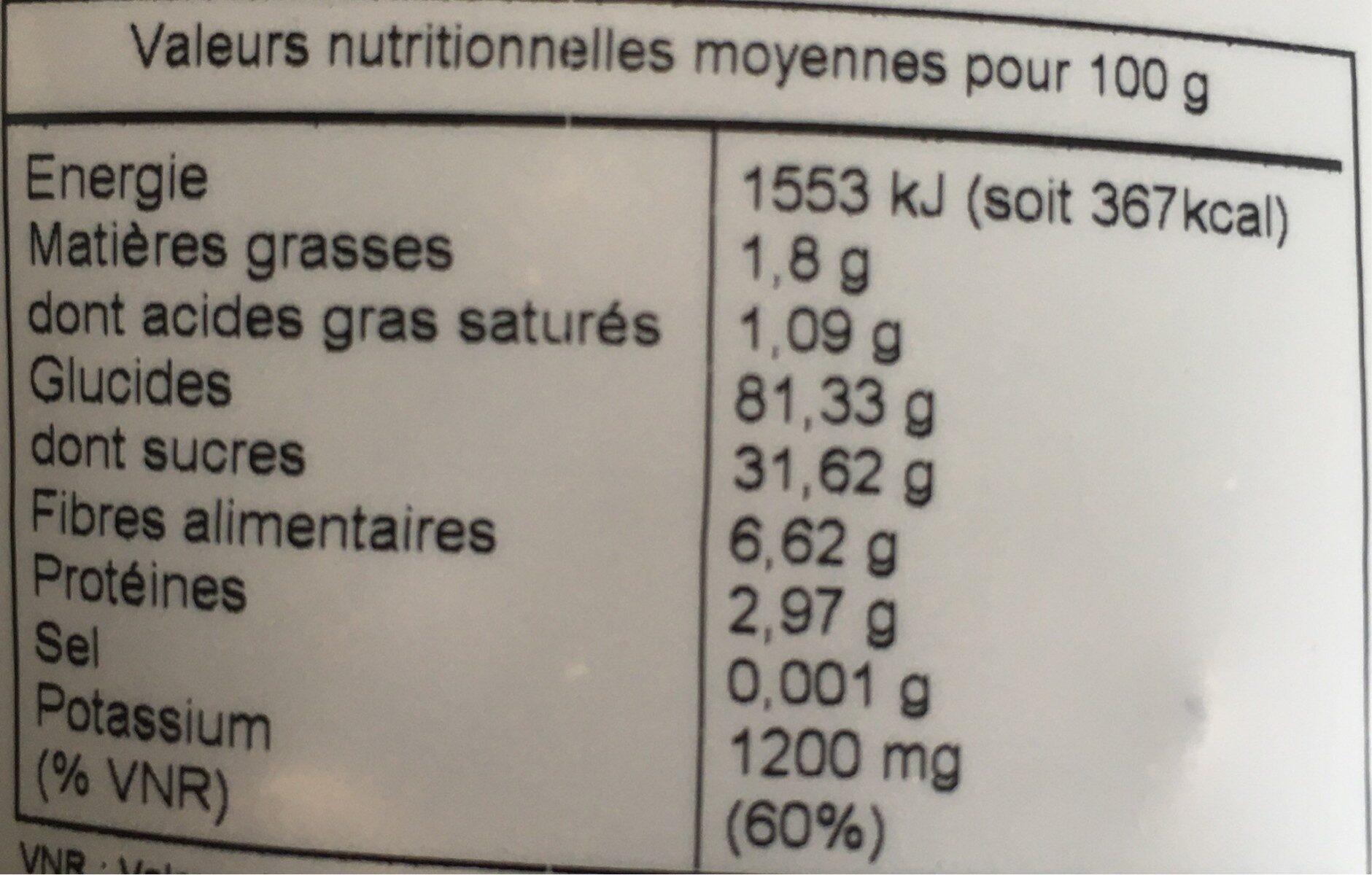Bananes moelleuses - Voedingswaarden - fr