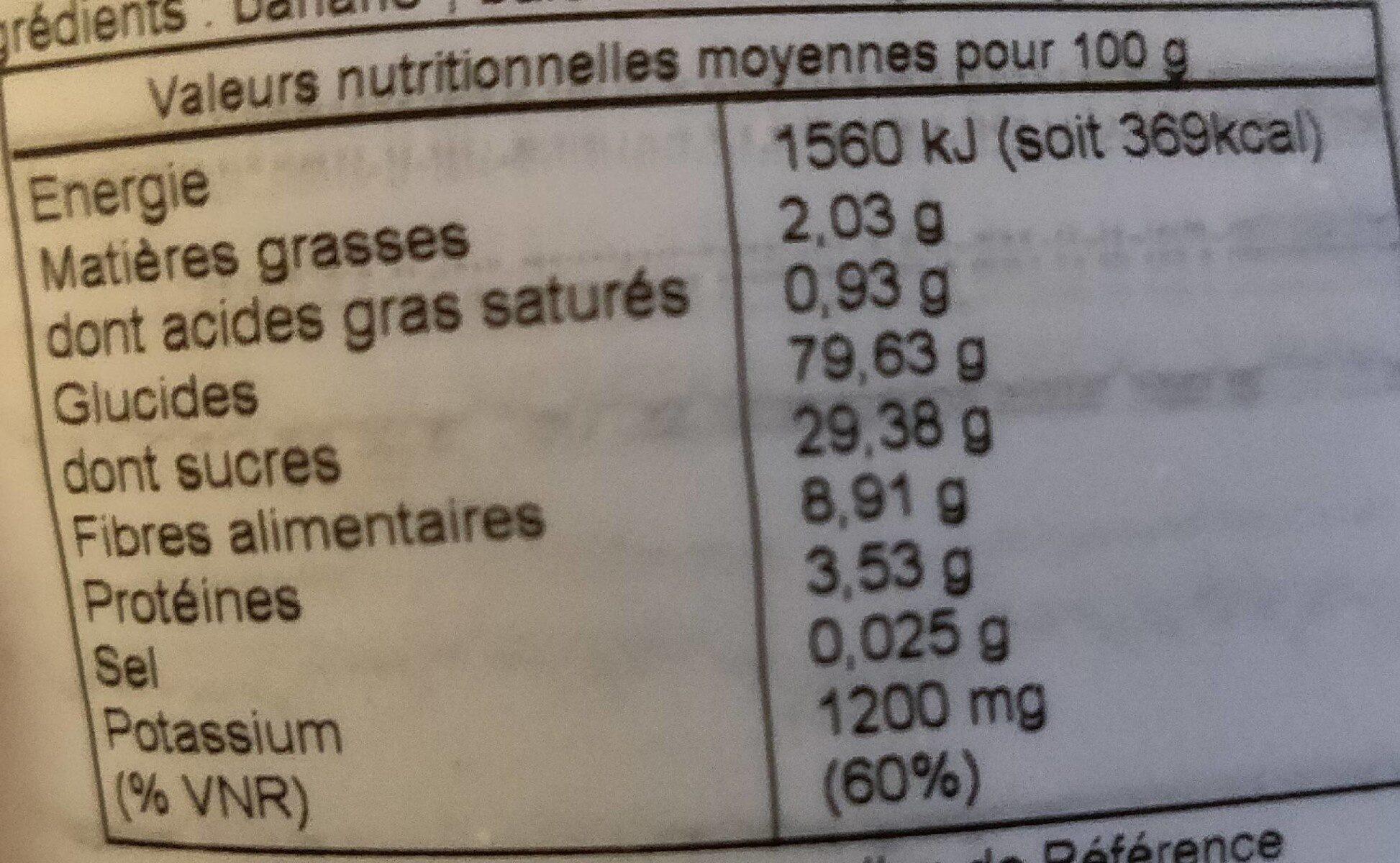 Bananes moelleuses aux baies des incas - Informations nutritionnelles - fr