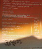 Dattes medjool - Nutrition facts - fr