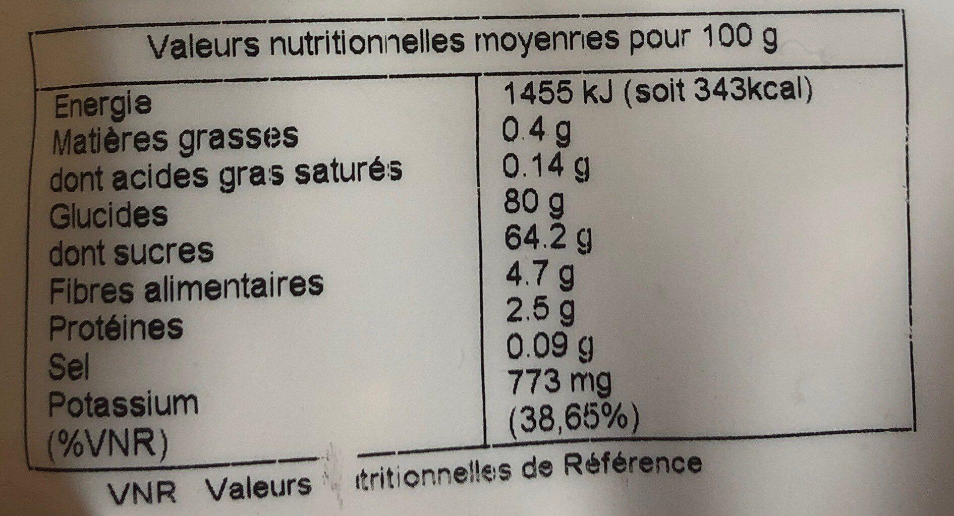 raisin vert du desert taklamakan - Informations nutritionnelles - fr
