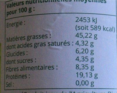 Purée d'amande blanche - Informations nutritionnelles - fr