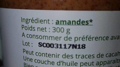 Purée d'amandes complètes - Ingrédients - fr