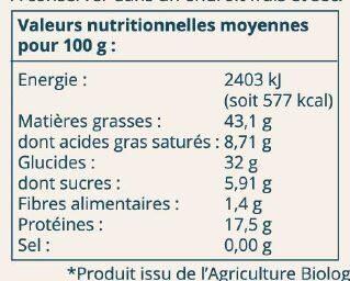 Puree de noix de cajou - Informations nutritionnelles - fr