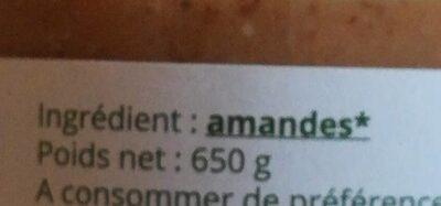 Purée d'amandes complètes - Ingredients - fr