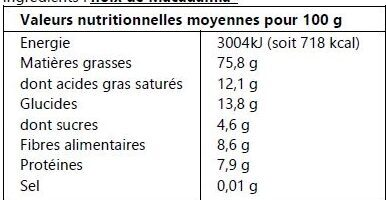 Noix de macadamia - Nutrition facts - fr