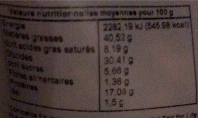 Noix de cajou au curry - Informations nutritionnelles