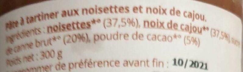 Pâte à tartiner équitable - Ingredients - fr