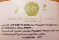 Pur jus de pomme biologique - Ingrédients - fr