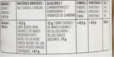Pur jus de pomme biologique - Informations nutritionnelles - fr