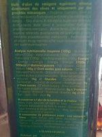 Huile d'olive vierge extra bio douce Tunisie - Ingredients