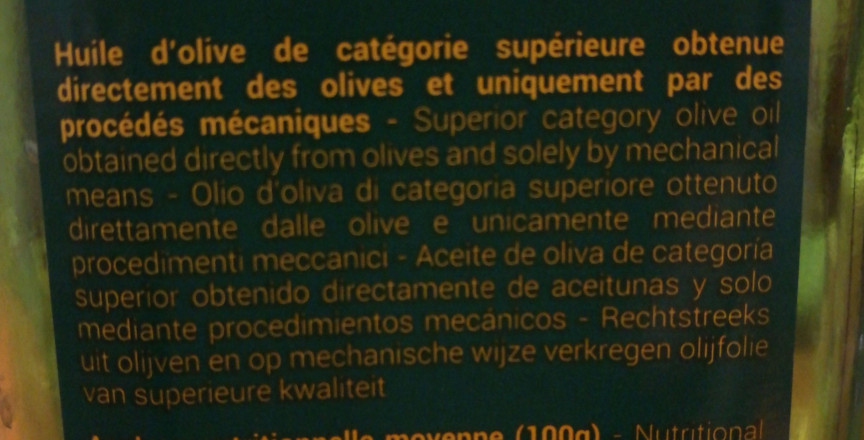 Huile d'olive vierge extra biologique - Ingredients