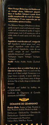 Vinaigre balsamiques de Modène - Ingredients
