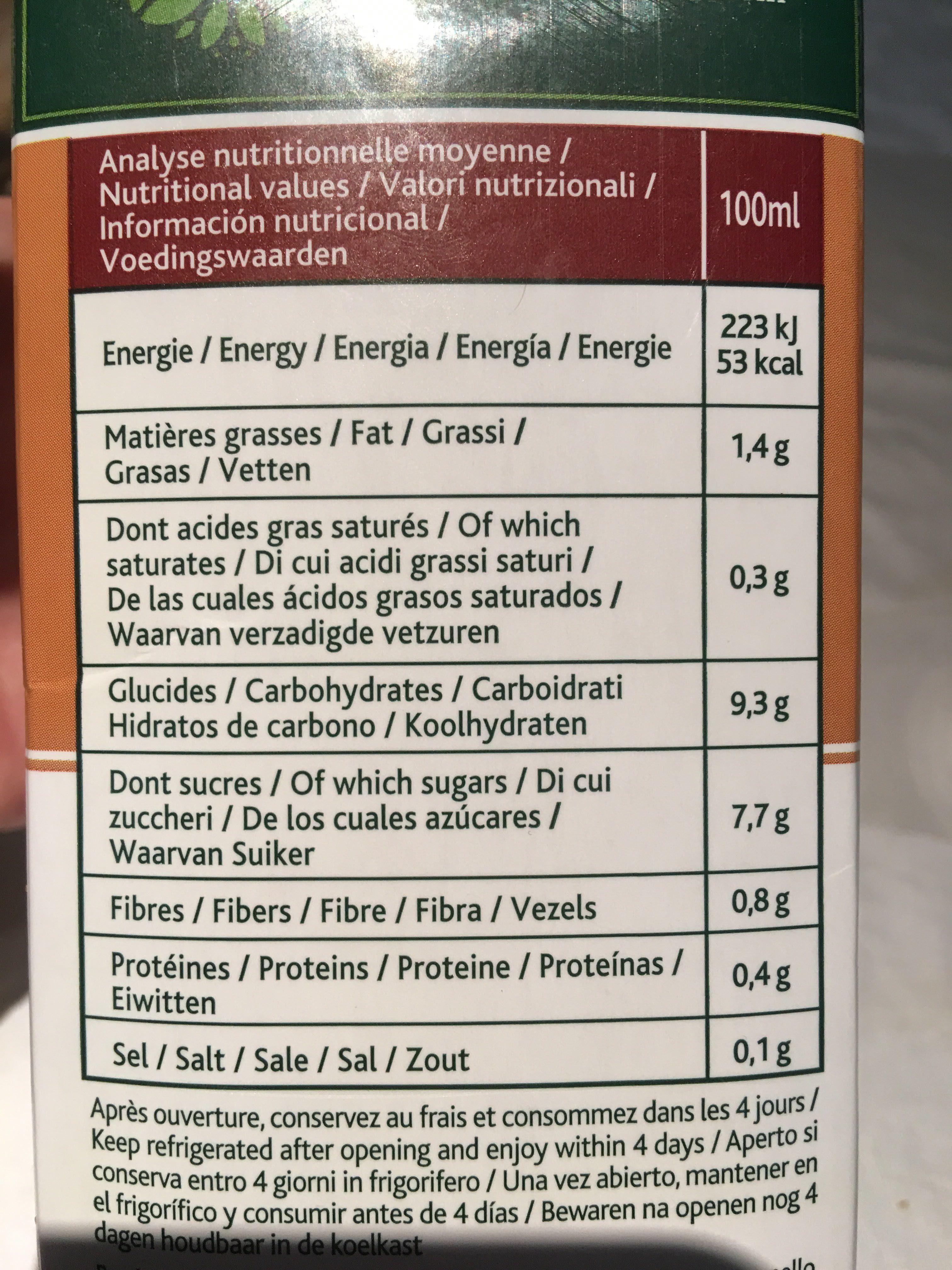 Boisson à l'Avoine Bio - Nutrition facts