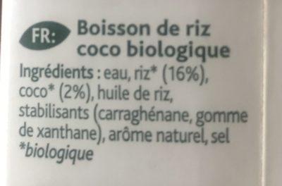 Riz coco bio - Ingrédients