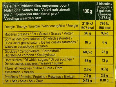 Petit beurre chocolat au lait bio - Informations nutritionnelles - fr