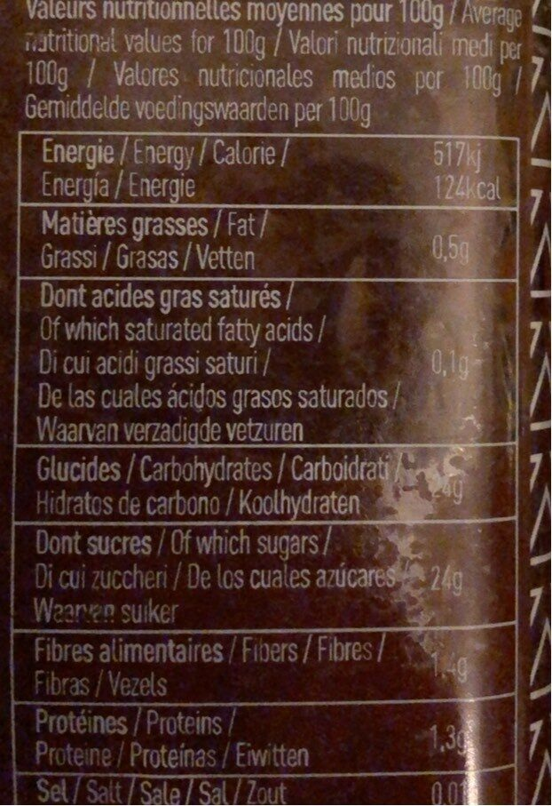 Mirabelle bio - Nutrition facts - fr
