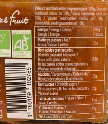 Abricot bio - Ingredients - fr