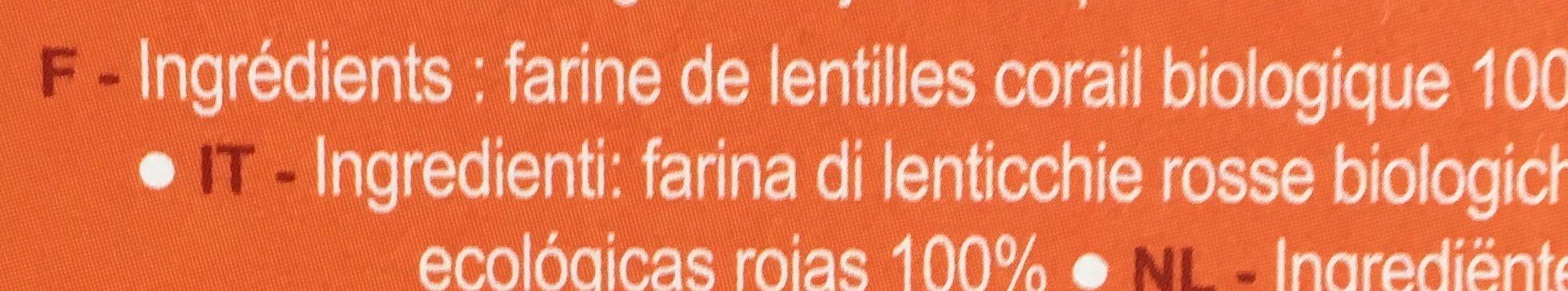 Penne de lentilles corail - Ingrediënten - fr