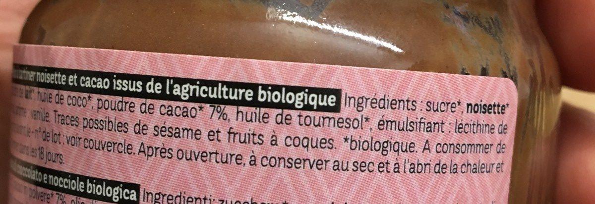 Pate à tartiner bio noisette & cacao - Ingrédients - fr