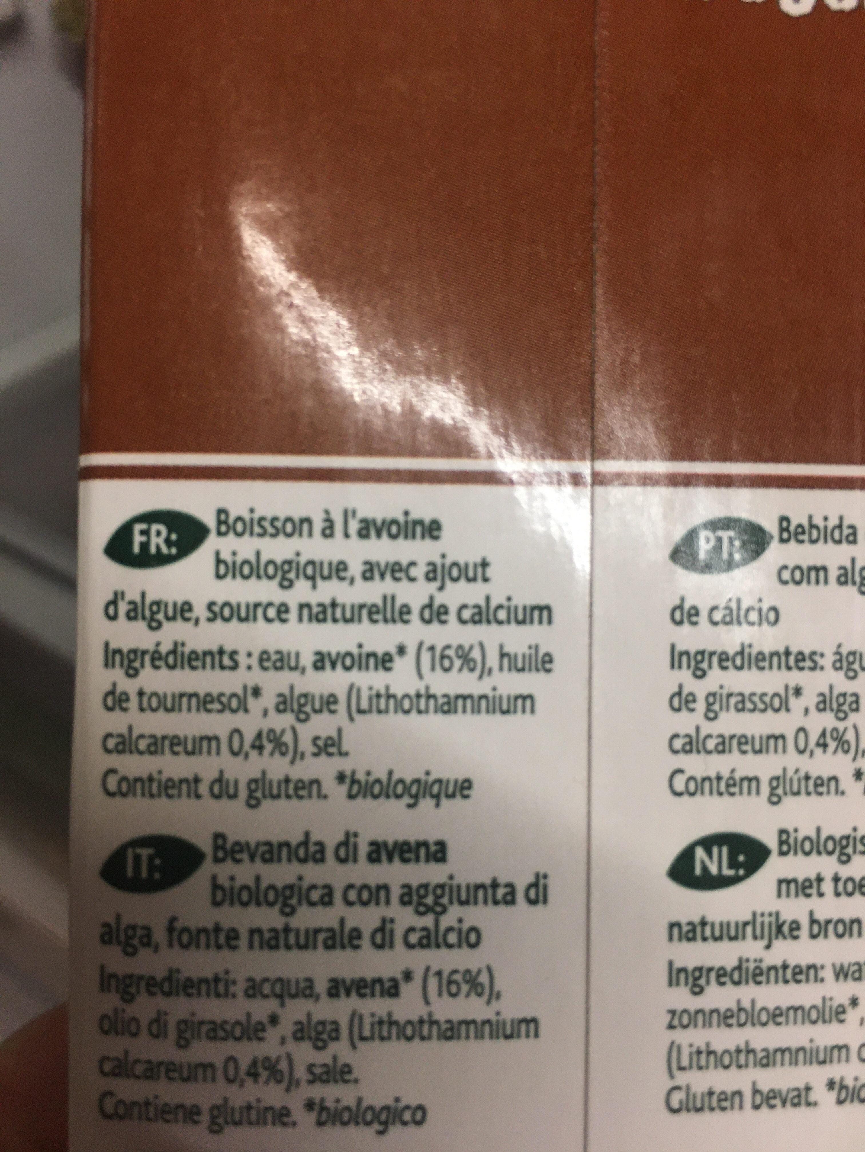 Boisson avoine calcium - Ingrédients