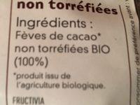 Fèves De Cacao Non Torréfiées Bio - 500 G - Fructivia - Ingredienti - fr