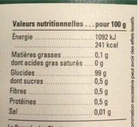 Fructivia Xylitol Cristallisé - Finlande - Pot - Informations nutritionnelles - fr