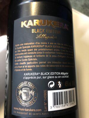 Rhum vieux agricole Karukera black édition Alligator - Ingrédients - fr