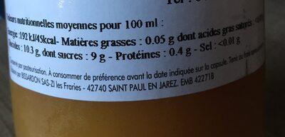 Nectar peche jaune - Valori nutrizionali - fr