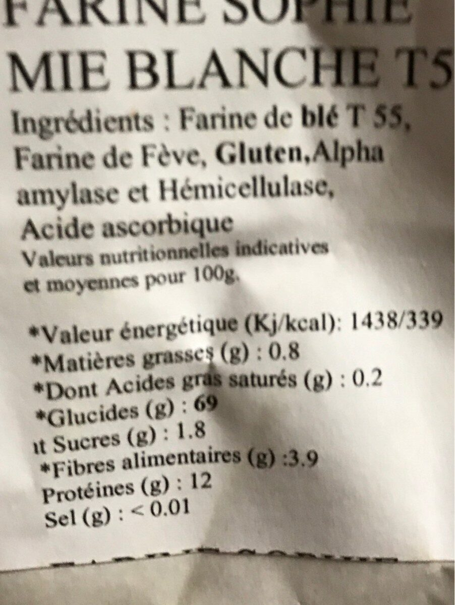 Farine sophie - Nutrition facts - fr