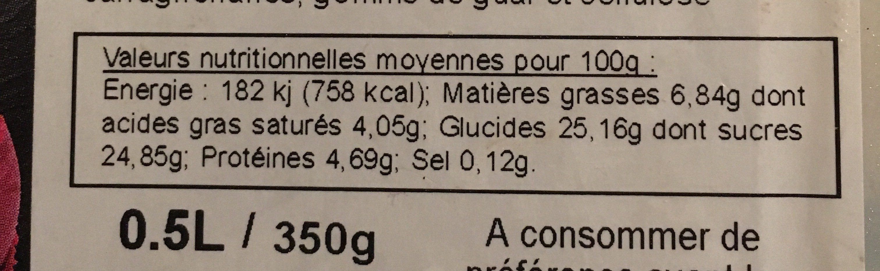 Glace vanille - Nutrition facts - fr