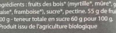 Confiture de Fruits des Bois Bio - Ingredients