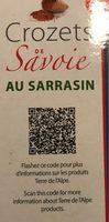 Crozets de Savoie au sarrasin - Informations nutritionnelles