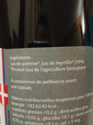 Pur Jus pomme myrtille - Ingredients