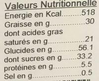Gâteau Breton Fourré Pruneaux - Informations nutritionnelles