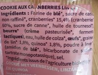 Cookie au cranberries lin et quinoa - Ingrédients - fr
