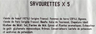 Savourettes - Ingrédients