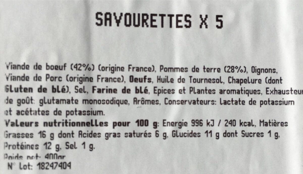 Savourettes - Informations nutritionnelles